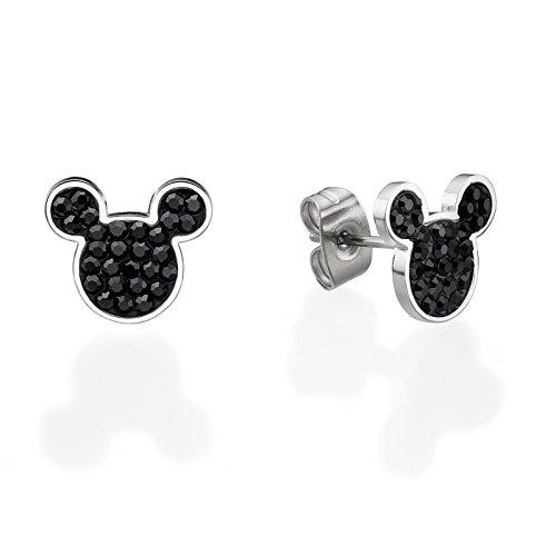 Pendientes para mujer joyas Disney Mickey Mickey Ratón Swarovski negras lucide
