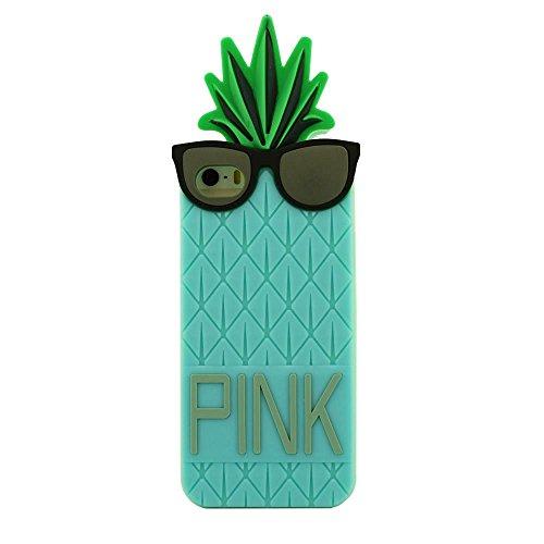 Mode Schutzhülle Apple iPhone 5 SE 5S 5G Hülle Protective Case Cover Soft-Silikon Frucht Ananas-Form Individualität Einzigartig Entwurf Verschiedene Farben Cyan