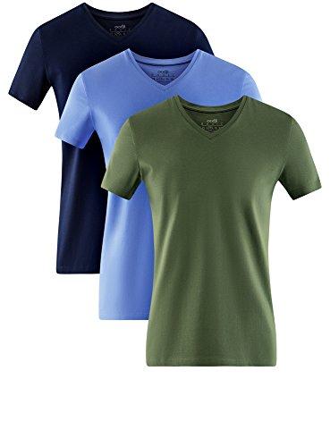 oodji Ultra Herren Tagless T-Shirt Basic (3er-Pack) Mehrfarbig (1900N)