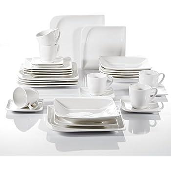 Vancasso White Porcelain Dinnerware Set Dessert Plate Soup Plate Dinner Plate Cup Saucer 30 Pieces  sc 1 st  Amazon UK & Vancasso White Porcelain Dinnerware Set Dessert Plate Soup Plate ...