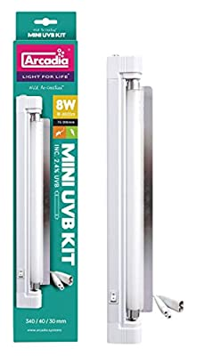 Arcadia Mini UVB Kit - 8W 400lm - 340 x 40 x 30mm - Includes 2.4% UVB Lamp by Arcadia