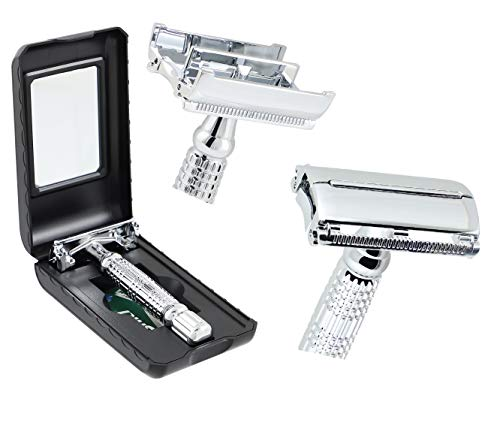 Premium de Luxe Classic Rasierhobel für die anspruchsvolle Dame und den selbstbewussten Herren, Nassrasierer Rasierset Sicherheitsrasierer Handrasierer Klingenrasierer (9,5 cm)
