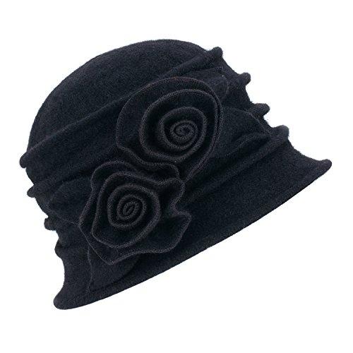 Lawliet Eleganter Vintage-Glockenhut aus Wolle für Damen. Warme Kopfbedeckung für den Winter. Gr. Einheitsgröße, 287_Black