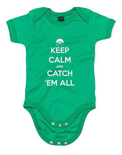 'Em All, Gedruckt Baby Strampler - Grün/Weiß 12-18 Monate (Pikachu-strampler)