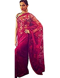Isha Enterprise Nylon Net Red Multi Work Designer Saree