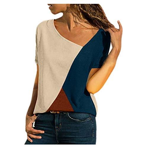 Rosennie Damen Mode Bluse T-Shirt Tops Casual Farbblock Patchwork T-Shirt Oberteile Sommer Kurzarm O-Ausschnitt Tunika Top Pullover Bluse Oberteil Asymmetrisch Color Block Tank Tops Shirt -