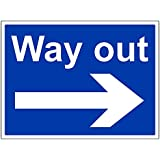 VSafety 43054BF-R Mandatory General Sign, Rigid Plastic, Way Out/Arrow Right, Landscape, 400 mm x 300 mm, Blue
