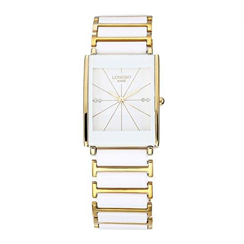 Faysting EU donna orologio da polso orologio al quarzo con acciaio corda quadrante piazza oro fashion