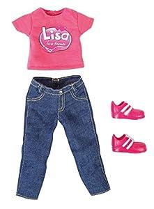 Bayer Design 8309900-Ropa para función muñeca Lisa-Pantalones Vaqueros con la Camiseta y turnschuhen
