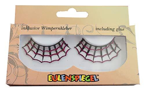 Eulenspiegel 001028 - künstliche Wimpern - Pink/Schwarz Spiderweb