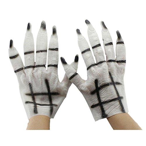 Fulltime® Costumes d'Halloween Masquerade Party Supplies blancs fantômes Gants Blanc
