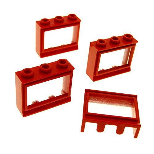 Bausteine gebraucht 4 x Lego System Fenster Rahmen rot transparent Weiss 1x3x2 mit Fensterbank Zug Eisenbahn Haus Waggon Lok 31bc01