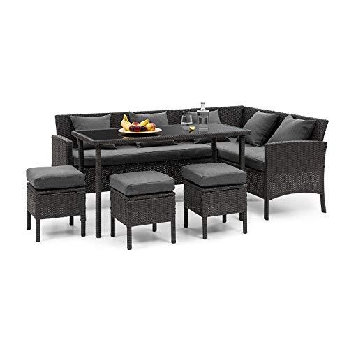 blumfeldt Titania Dining Lounge Set • Gartengarnitur • Eckgarnitur • 5-teilige Sitzgruppe: Eckcouch, Tisch & 3 Hocker • 7 Sitzplätze • 8 cm Sitzpolster • inkl. Bezüge in Dunkelgrau • Rattan: Schwarz -
