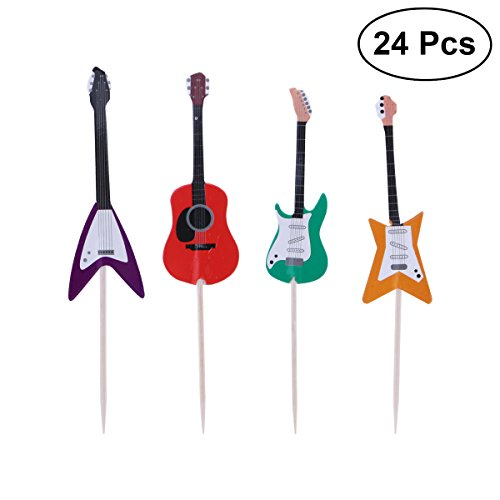 OULII Guitarra Pastel Cupcake Toppers Instrumentos Musicales Forma Cupcake Selecciones para Bodas Fiesta de cumpleaños Fuentes 24pcs