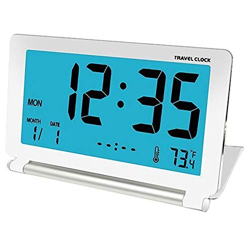 SODIAL Reloj Despertador De Viaje LCD Mini Alarma Electrónica Plegable De Escritorio Digital Relojes...