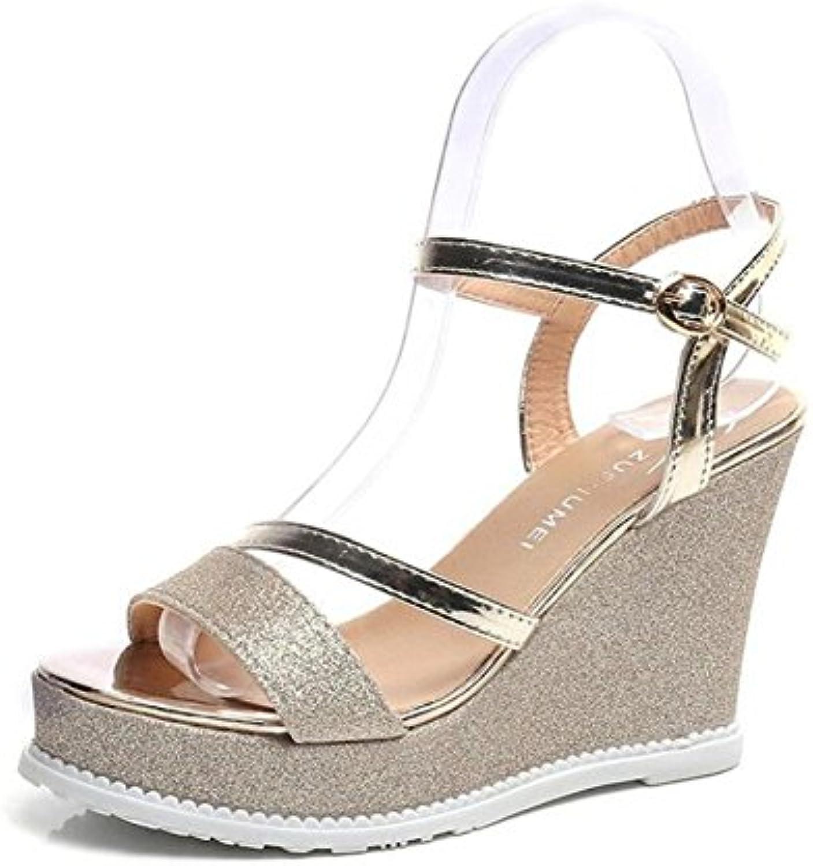 GAOLIXIA Zapatos de Mujer de Cuero sintético Sandalias Confort de Verano Tacón de Aguja Peep Toe para Casual Black...