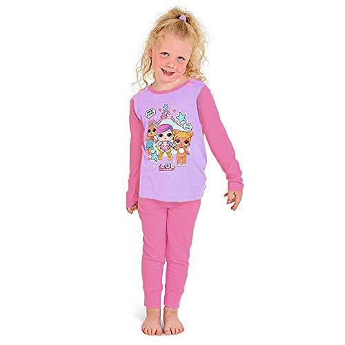 Puppen Schlafanzüge für Mädchen weiche Baumwolle PJ Set Konfetti Pop Lil Schwestern (5-6 Jahre, 3 Zeichen Pink) - Baumwolle Pj Set