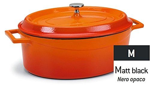 Pentole Agnelli COGHSOP12612M Slowcook Casseruola Ovale con 2 Maniglie, in Ghisa, Nero Opaco, 0.4 Litri