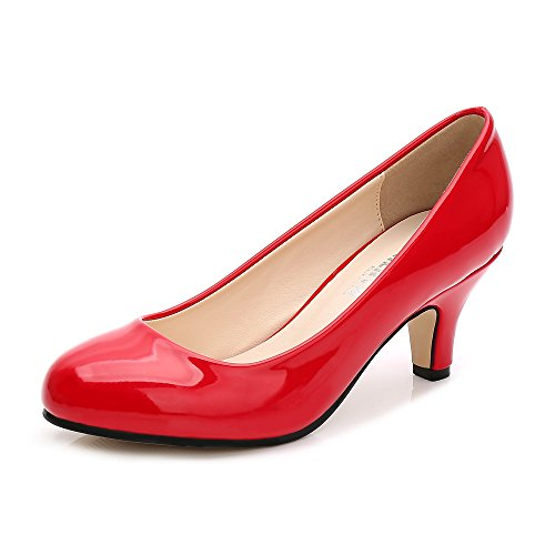 Damen Pumps Rund Kitten Heel Kleid Business Party Rot Patent Asiatisch 44/ EU 43