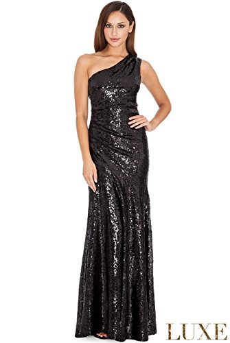GLAMOUR One Shoulder Abendkleid Schwarz
