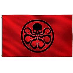K-AXIS Flagge Hail Hydra Captain America inspiriert, 100% Polyester, Starke Leinenkopper mit 2 Messingösen, UV-beständiger, lebendiger Digitaldruck, für den Innen- und Außenbereich