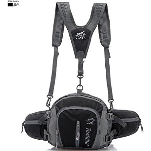 Tanluhu 4L paquYouVogue de la cintura con tirantes y soportes para botellas de agua para la escalada, senderismo, camping, funcionamiento, viajando, etc. - Black