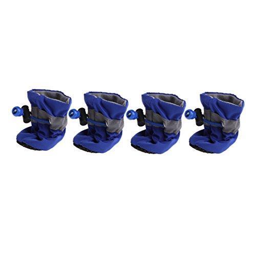 qiuxiaoaa 4 stück pet Hund Regen Stiefel Nicht von den füßen Wasserdichte hundeschuhe Regen Schneeschuhe kleine Gummi Rutschfeste Schuhe welpen blau 6 (Für Welpen Gummi-stiefel)