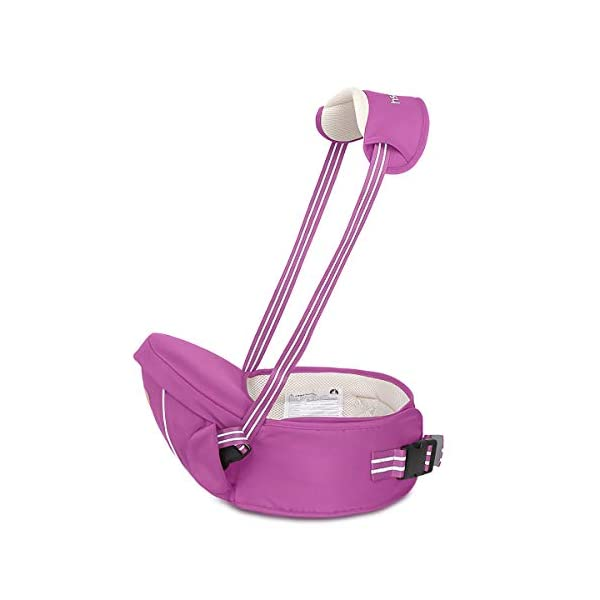 SONARIN Multifunctional Hipseat Baby Carrier,Free Size,Toddler Hip Seat Carrier,Front Carrier Belt,4 Carrying Positions,Adapted to Your Child's Growing,Ideal Gift(Purple) SONARIN Applicable age and Weight:0-36 months of baby, the maximum load: 20KG, and adjustable the waist size can be up to 45.3 inches (about 115cm). Material:designers carefully selected comfortable and cool polyester fabric, light, tear-resistant, breathable,Inner pad : EPP Foam,safe and no deformation. Description:Sturdy buckle and inner soft padded ensuring baby safety and parent's comfort.It takes 1 second to put on.Nothing is more convenient.Side with small pockets, in order to store handkerchiefs, wallets and mobile phones and other small items. 1