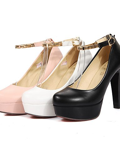 WSS 2016 Chaussures Femme-Bureau & Travail / Décontracté-Noir / Rose / Blanc-Gros Talon-Talons / Bout Arrondi-Talons-Polyuréthane black-us8 / eu39 / uk6 / cn39
