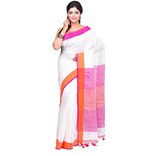 Wooden Tant 80 Count Linen Saree In White With Orange Border