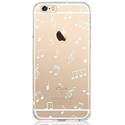 Oveo® kompatibel mit iPhone 6 / 6S Hülle, Dolce Vita Serie Transparente Silikon Handyhülle Accessoires für Damen/Mädchen, Durchsichtig mit Weiß Musik Muster