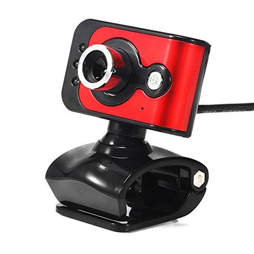20MP USB 2.0 HD Webcam Kamera 3 LED WebCam Eingebautes MIC ROT - Asiproper