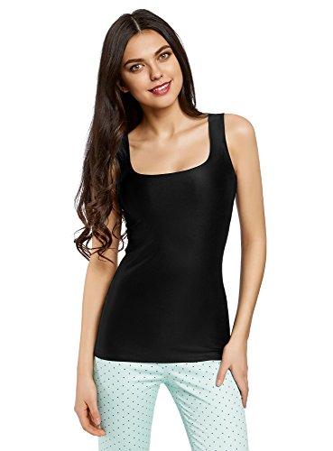 oodji Collection Mujer Camiseta de Tirantes de Punto Básica, Negro, ES 38 / S