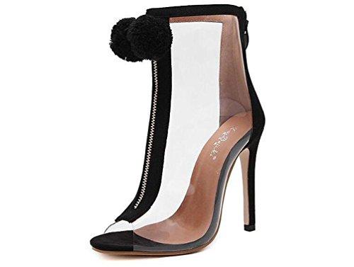 Beauqueen Bottes de cheville respirant Transparent Haut ouvert Toe Chunky High Heel Zipper Sandales à édition limitée EU Taille 34-40 Black
