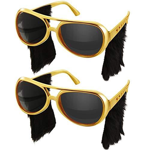 Männer Rockstar Kostüm - Rockstar Brille Rock Sonnenbrille 50's 60's Gold Rahmen Kostüm Sonnenbrille (Seite Verbrennungen Stil, 2 Paare)