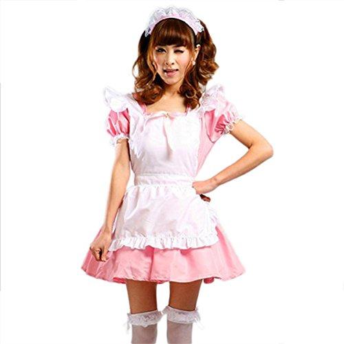 play maid restaurant uniform Lolita maid Costume dress ( Pink , Size L ) (Japanese School Girl Kostüm Halloween)