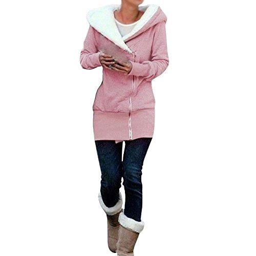 Minetom Femme Fermeture À Glissière De Concepteur Hoodies Veste Automne Dames Manteau Hiver Sweat Shirt pink