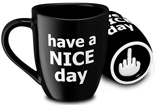 Decodyne Kaffeetasse mit Mittelfinger auf der Unterseite, 400 ml schwarz