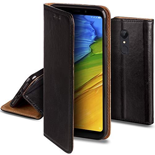 Moozy Funda para Xiaomi Redmi 5 Plus Cuero Genuino, Negra - Flip Cover con Función Soporte, Cartera para Tarjetas y Cierre Magnético