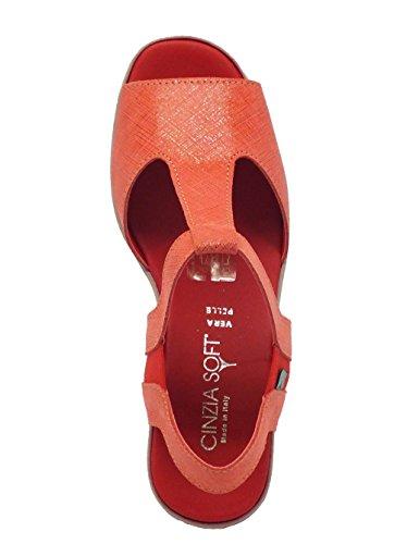 Cinzia Soft Sandalo Pelle Rossa Lavorazione Saffiano Rosso