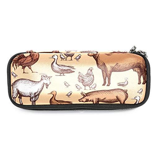 TIZORAX Federmäppchen mit Hahn, Gänse, Kuh, Schwein, Federmäppchen, Make-up-Tasche, Studenten, Schreibwaren, Stifthalter für Schule/Büro