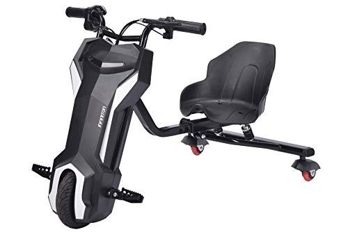 Triciclo ELECTRICO Crazy Bike Sup INFINITON Azul-Negro (Amortiguacion Trasera, Distancia Regulable, Velocidad máxima 20km/h)