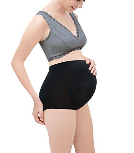 Intimate Portal Femme Au-dessus du Ventre Petite Culotte de Maternité Sans Couture Ultra Légère (Pack de 2) Noir/Noir