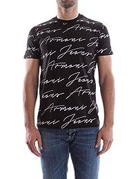 Armani Jeans | 3Y6T40 Black Half Sleeve Printed T-Shirt