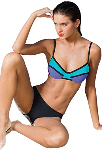 Bestime da donna Neon Color Block due pezzi swimsuit blu L