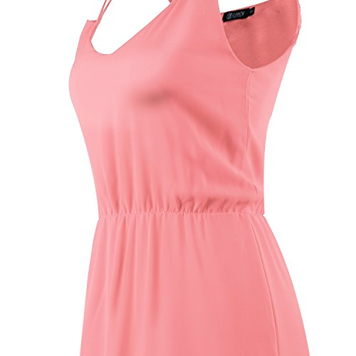 SUNNOW® Femme Mini Robe Cocktail Courte Rouge Casual en Chiffon Sans Manche Robe d'été Bretelles Sexy robe de plage Rose