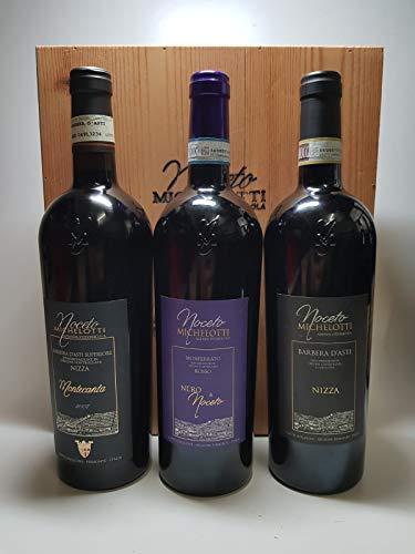 3 Bottiglie in Cassa Legno Noceto Michelotti Barbera + Barbera + Monferrato Rosso 0,75 lt.