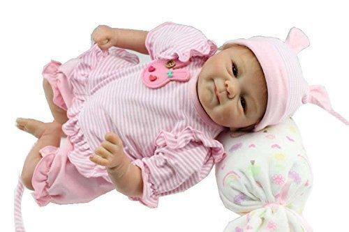 iCradle 18 Pulgadas realistas de Silicona Suave muñecas Reborn Baby con Mohair para Regalo de cumpleaños para niños