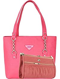 SALEBOX Women's Top Handle Buckle Chain Leather Handbag With Wallet/Pouch Combo -Pink