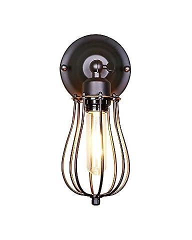 Splink Industrial Wandleuchte UP/DOWN Wandlampe Vintage Metal Käfig Fabrikstill Loft Bar Cafe Wandbeleuchtung